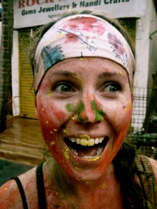 Celebrating the Holi Festival in Goa, some guy caught me mid-laugh and got me good with a mouthful of yellow powder. At least it's all natural in India.